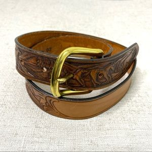Silver Creek Horse Tooled Leather Belt Size 26